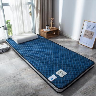 2020新款泰国天然300克浮雕针织棉乳胶功能床垫 90*200cm 玛雅—宝蓝(厚度4cm记忆棉))