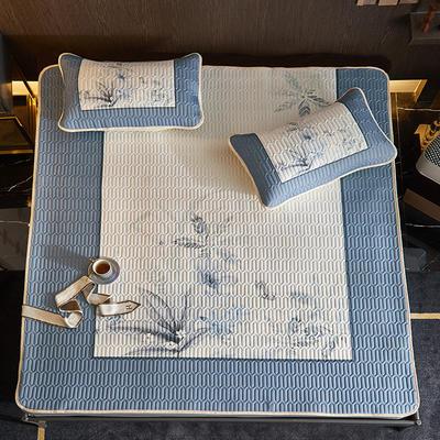 2021新款大版凉感丝乳胶凉席三件套 1.8m凉席三件套 水墨