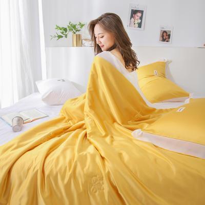 2020新款特色水洗真丝雪纺边撞色夏被四件套—电子图 1.5*2.0m床单款夏被四件套 鲜橙黄