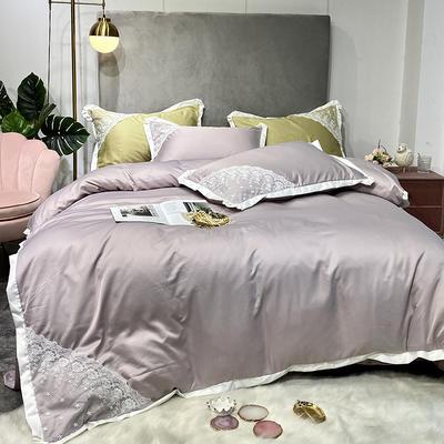 2020新款雙面水洗真絲潘多拉系列四件套 1.5m床單款 裸紫