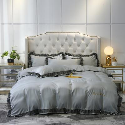 2021新款水洗真丝戴芙妮系列四件套—棚拍图 1.8m床单款四件套 炫彩银