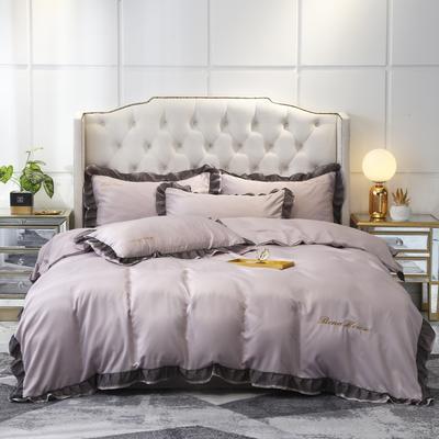 2021新款水洗真丝戴芙妮系列四件套—棚拍图 1.8m床单款四件套 裸紫
