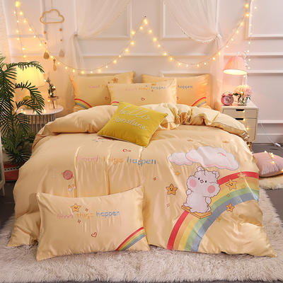 2021新款水洗真丝全棉贴布绣四件套—彩虹熊(棚拍图) 1.8m床单款四件套 柠檬黄