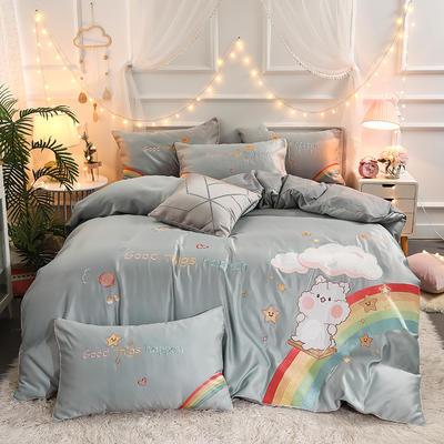 2021新款水洗真丝全棉贴布绣四件套—彩虹熊(棚拍图) 1.8m床单款四件套 炫彩银