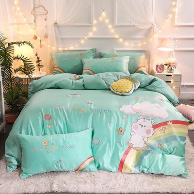 2021新款水洗真丝全棉贴布绣四件套—彩虹熊(棚拍图) 1.8m床单款四件套 优雅绿