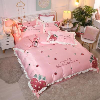 2021新款水洗真丝全棉贴布绣四件套—甜心草莓(棚拍图) 1.8m床单款四件套 淡雅粉