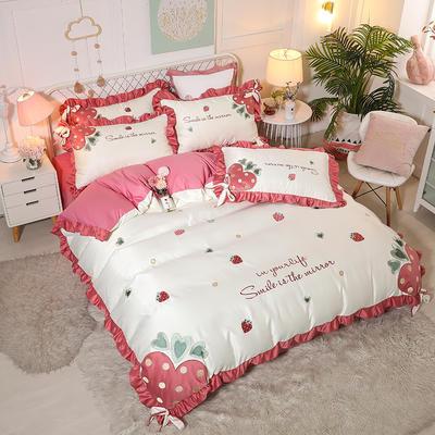 2021新款水洗真丝全棉贴布绣四件套—甜心草莓(棚拍图) 1.8m床单款四件套 珍珠白