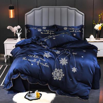 2020新款60s水洗真絲13372噴氣全棉刺繡四件套—雪花(棚拍圖) 1.5m床單款四件套 寶藍