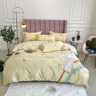 2020新款水洗真丝全棉贴布绣四件套—彩虹熊(实拍图) 1.8m床单款四件套 柠檬黄