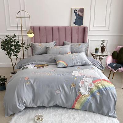 2020新款水洗真丝全棉贴布绣四件套—彩虹熊(实拍图) 1.8m床单款四件套 炫彩银