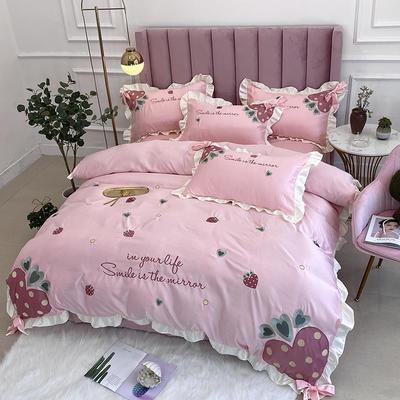 2021新款水洗真丝全棉贴布绣四件套—甜心草莓(实拍图) 1.8m床单款四件套 淡雅粉