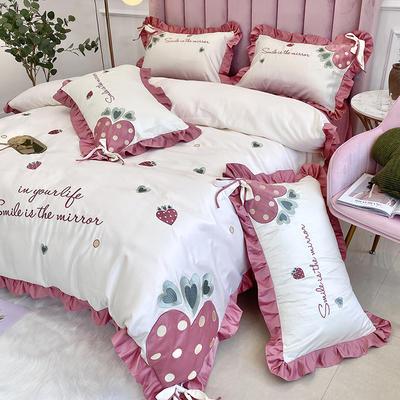 2021新款水洗真丝全棉贴布绣四件套—甜心草莓(实拍图) 1.8m床单款四件套 珍珠白
