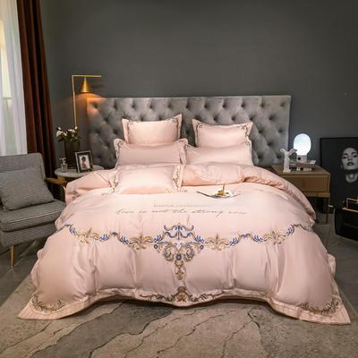2021新款60s水洗真丝13372喷气全棉刺绣四件套—巴黎之夜 1.8m床单款四件套 香槟金
