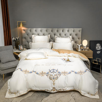2021新款60s水洗真丝13372喷气全棉刺绣四件套—巴黎之夜 1.8m床单款四件套 珍珠白