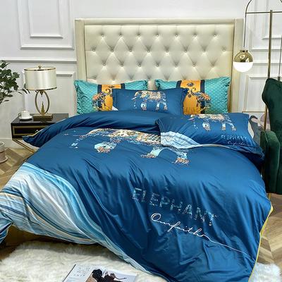 2020新款数码印花针织棉四件套 1.8m床单款四件套 时尚秀场-蓝