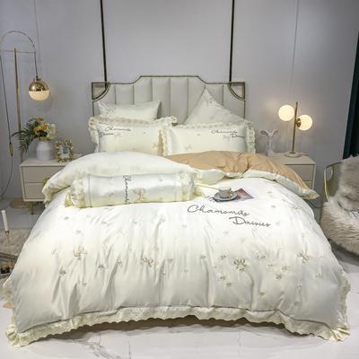 2020新款60s水洗真丝13372喷气全棉刺绣四件套—凯莉丝 1.5m床单款四件套 珍珠白