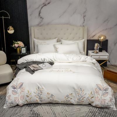 2020新款100支长绒棉轻奢刺绣四件套—陌上花开 1.8m床单款四件套 米白色