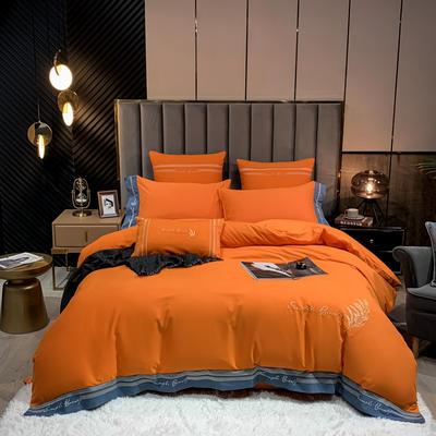 2020新款加厚生态全棉磨毛四件套—赛琳娜 1.8m床单款四件套 爱玛橙