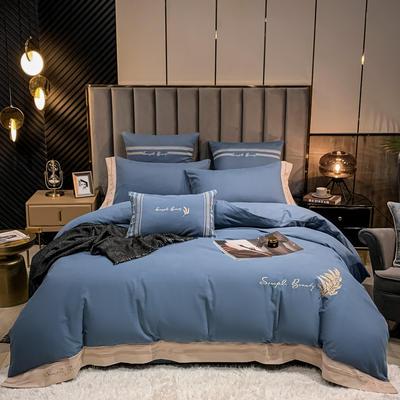 2021新款40S全棉四件套—赛琳娜 1.8m床单款四件套 宾利蓝