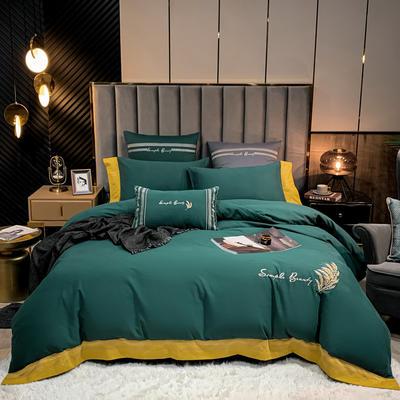 2021新款40S全棉四件套—赛琳娜 1.8m床单款四件套 墨绿