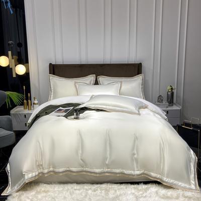 2021新款60S水洗真丝13372喷气全棉四件套—纽约 1.5m床单四件套 珍珠白