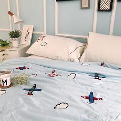 正宗水洗莫代尔毛巾绣飞机夏被  标准尺寸和小号 150x200cm 蓝色