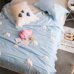 正宗水洗莫代尔立体云朵夏被  标准和小号  可配枕套 150x200cm 蓝色