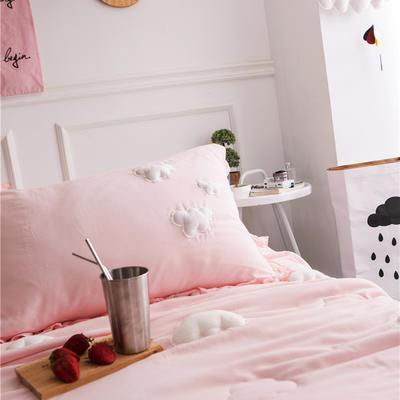 正宗水洗莫代尔立体云朵夏被  标准和小号  可配枕套 200X230cm 粉色枕套一对