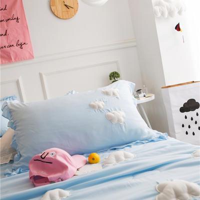 正宗水洗莫代尔立体云朵夏被  标准和小号  可配枕套 150x200cm 蓝色枕套一对