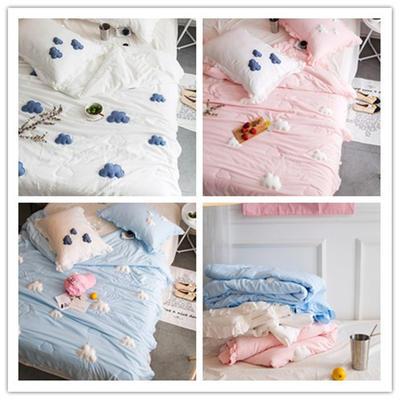 正宗水洗莫代尔立体云朵夏被  标准和小号  可配枕套 150x200cm 粉色