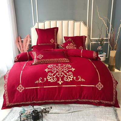 2018--60长绒棉四件套罗卡 抱枕45×45/只 罗卡-红
