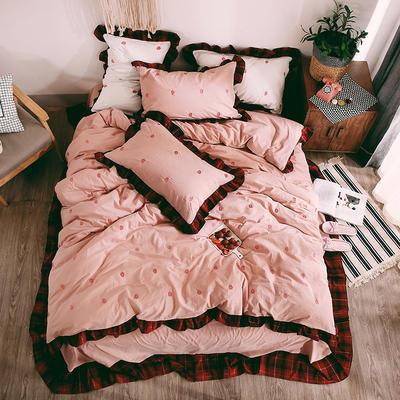 2018--色织水洗棉四件套草莓 标准1.5m-1.8m床 小草莓-粉