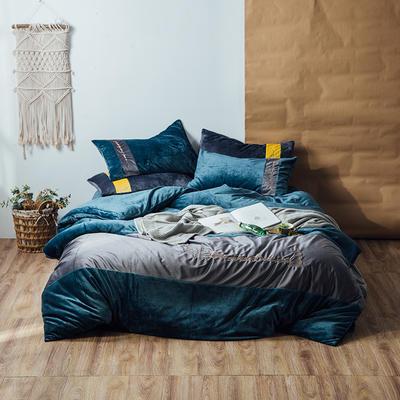 2018新款金丝绒四件套-挪威森林 1.8m(6英尺)床 海石蓝