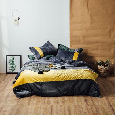 2018新款金丝绒四件套-挪威森林 1.8m(6英尺)床 深空灰