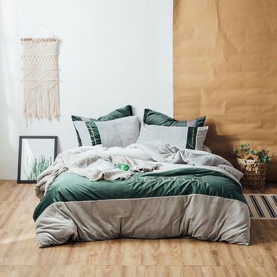 2018新款金丝绒四件套-挪威森林 1.8m(6英尺)床 慵懒灰