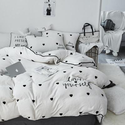 2018新款-爱心牛奶绒四件套 1.8m(6英尺)床 爱心白