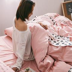 2019新款60长绒棉刺绣四件套 200*230cm 豹纹兔-粉色