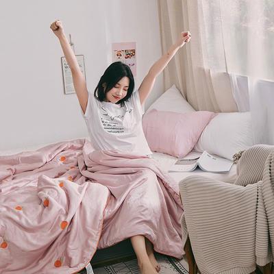 2019新款天丝刺绣夏被 150x200cm 橘子红了-粉