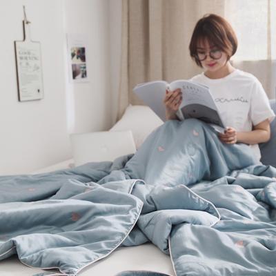 2019新款天丝刺绣夏被( 心晴) 150x200cm 蓝