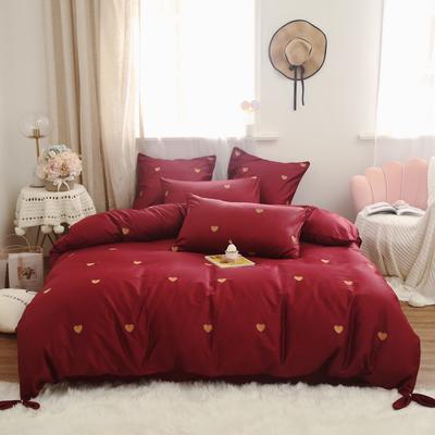 2019新款-60s长绒棉四件套 床单款1.8m(6英尺)床 红