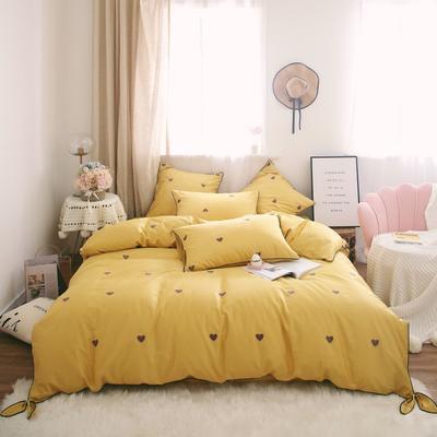 2019新款-60s长绒棉四件套 床单款1.8m(6英尺)床 黄