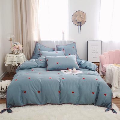 2019新款-60s长绒棉四件套 床单款1.8m(6英尺)床 蓝