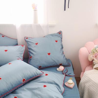 2019新款-四件套同款抱枕(简单爱) 方靠垫 (不含芯) 蓝