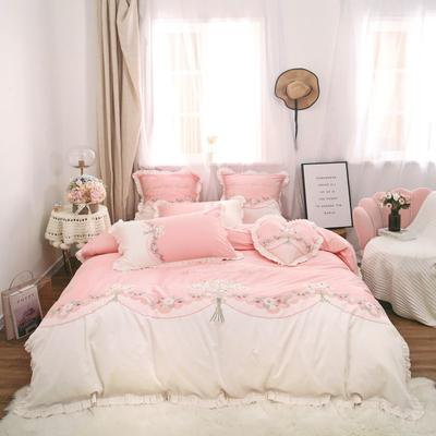 2019新款-秋冬新品60长绒棉四件套 床单款四件套1.5m(5英尺)床 60长绒棉四件套 甜蜜时光
