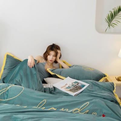 2019秋冬新款宝宝绒金丝绒工艺款四件套浪漫时刻 床单款四件套1.8m(6英尺)床 绿
