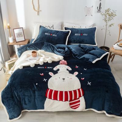2019新款-牛奶绒萌萌熊萌小鹿四件套 床单款1.5m(5英尺)床 萌萌熊蓝