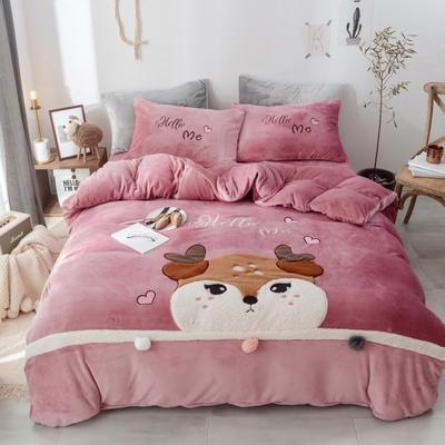 2019新款-牛奶绒萌萌熊萌小鹿四件套 床单款1.5m(5英尺)床 萌小鹿粉