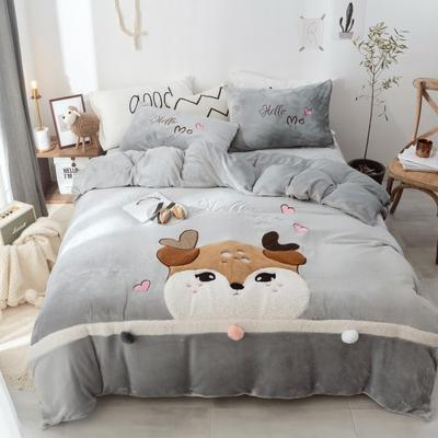 2019新款-牛奶绒萌萌熊萌小鹿四件套 床单款1.5m(5英尺)床 萌小鹿灰