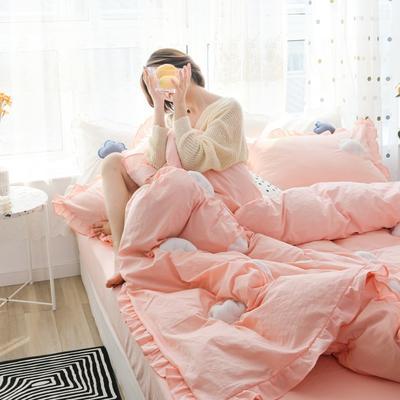 2019新款-水洗棉云朵四件套 床单款三件套1.2m(4英尺)床 粉