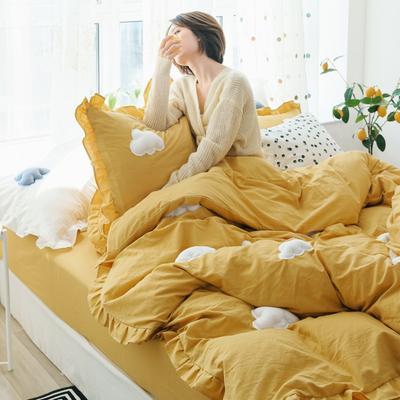 2019新款-水洗棉云朵四件套 床单款三件套1.2m(4英尺)床 黄